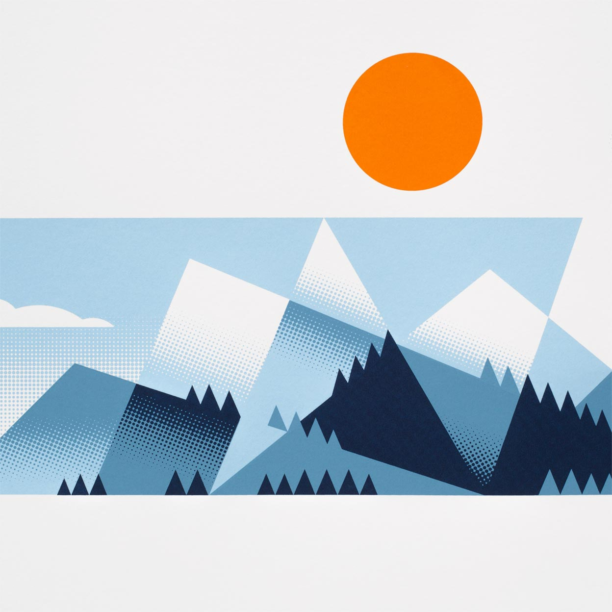 Mountains Screen Print by Dan Forster created for The Lost Fox