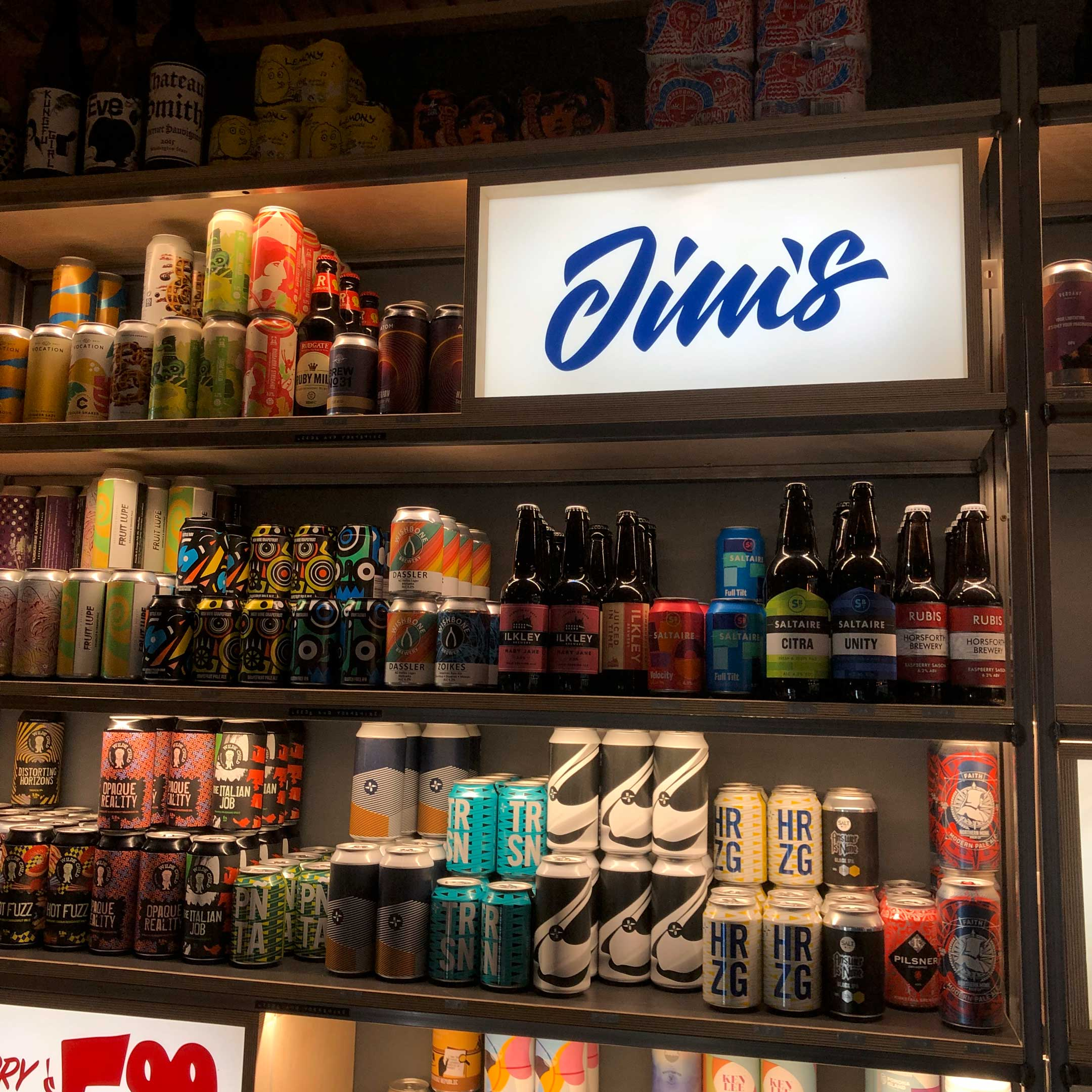 Jims Bottleshop - Custom Logotype by Dan Forster - internal sign
