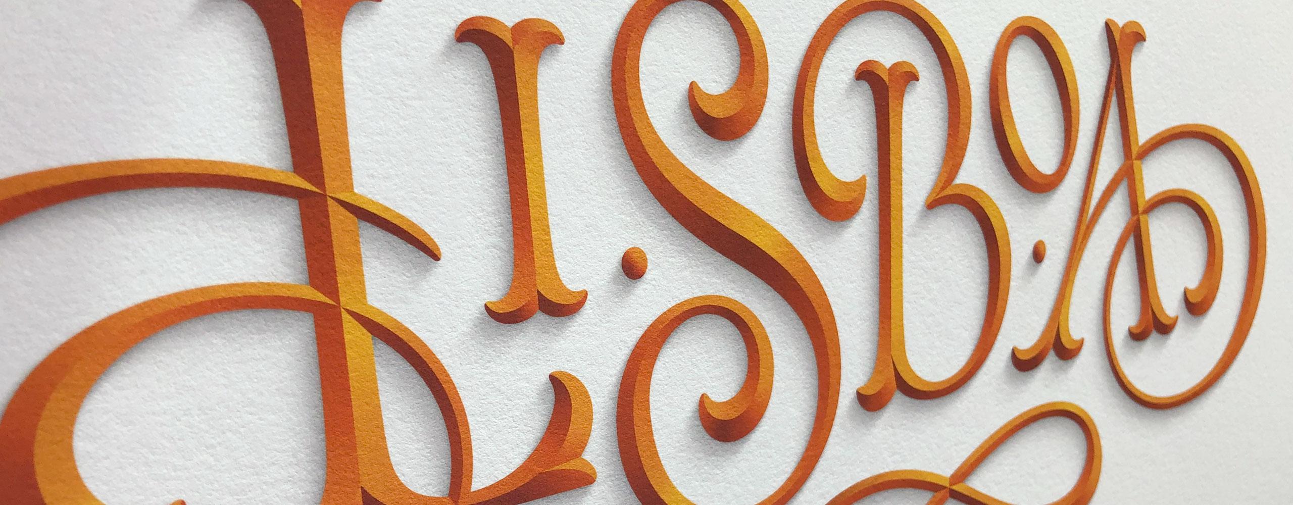 Lisboa lettering print by Dan Forster
